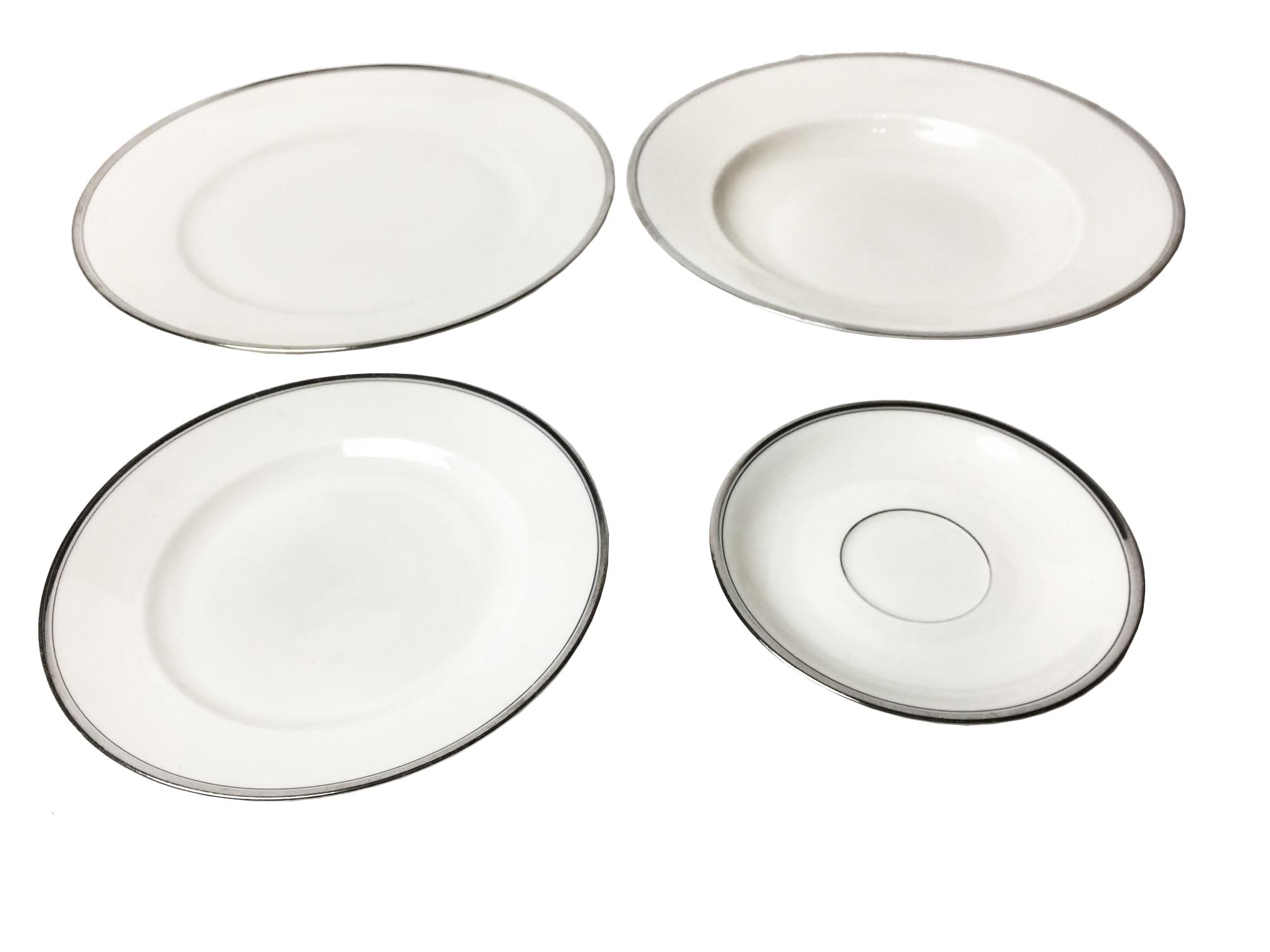 1920s Vintage Art Deco Style White \u0026 Silver Dinnerware Set - 22 Pieces - Image 3  sc 1 st  Chairish & 1920s Vintage Art Deco Style White \u0026 Silver Dinnerware Set - 22 ...