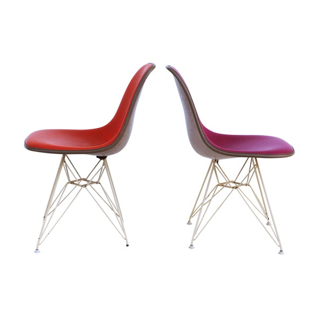 Pink & Orange Eames Chairs on Eiffel Bases - Pair For Sale - Image 7 of 10
