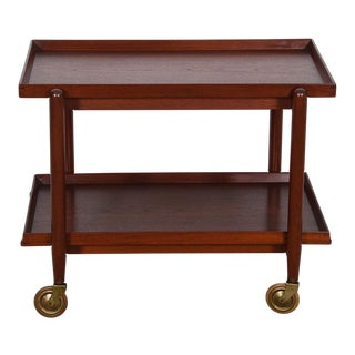 Early Danish Teak Expanding Bar Cart with Removable Tray For Sale