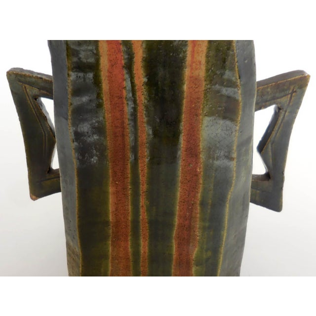 Brown Japanese Pottery Vessel With Two Large Handles in Matte Earth Colors For Sale - Image 8 of 12
