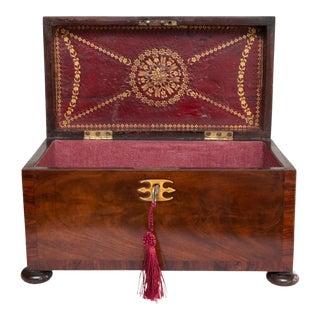 18th Century English Georgian Flame Mahogany Box, Lock & Key For Sale