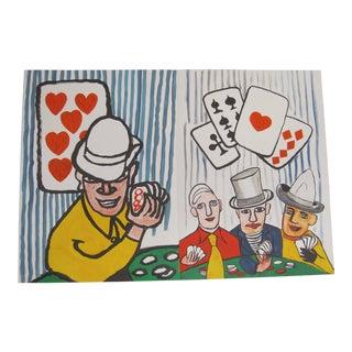 1970s Vintage Alexander Calder Derriere Le Miroir Poker Players Double Lithograph Print For Sale