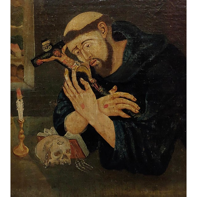 18th Century Spanish Colonial- Saint Francis of Assisi -Oil Painting For Sale - Image 4 of 8