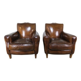 Pair of French Leather Deco Armchairs, Circa 1930 For Sale
