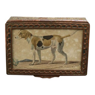 Antique Copper Box w/ Hand-Painted Dog