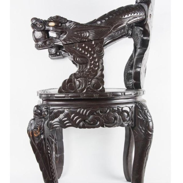 Chinese Carved Rosewood Armchair - Image 6 of 8