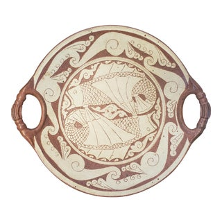 Mid 20th Century Hispano Moresque Pottery Fish Motif Charger For Sale