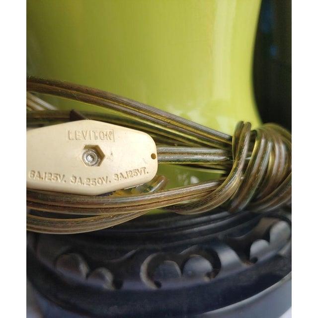 Ceramic 1960s Asian Leviton Green Porcelain Lamp For Sale - Image 7 of 8