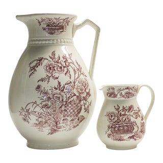 Red and White Floral Pitcher Set - 2 Pcs.