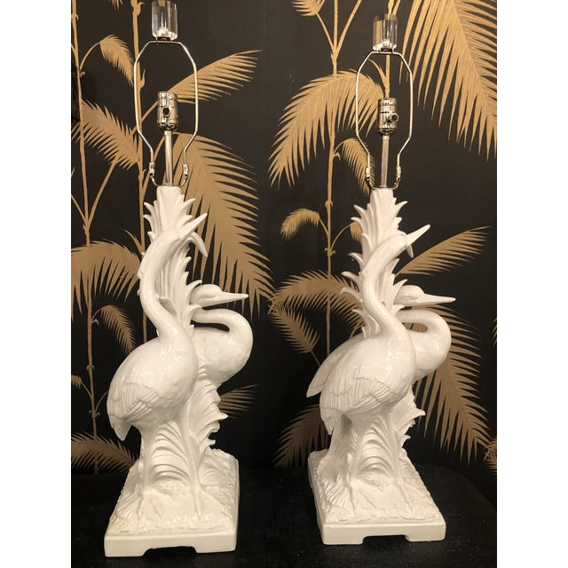 Vintage Hollywood Regency Tropical White Ceramic Heron Bird Table Lamps - a Pair For Sale - Image 13 of 13