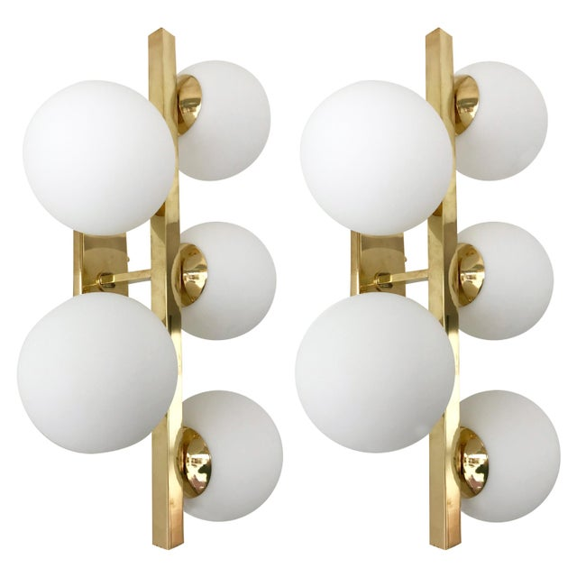 Contemporary Brass Sconces Opaline Glass Ball, Italy For Sale - Image 11 of 11