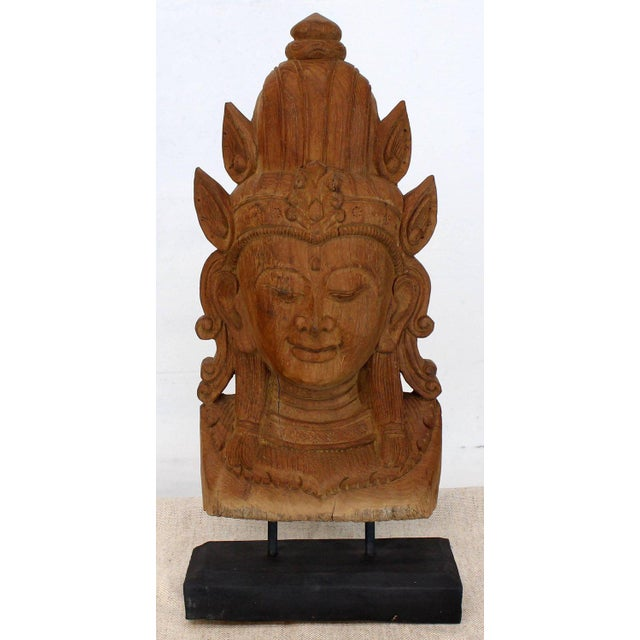 Fine Carved Teak Mask on Stand Sculpture of Buddha For Sale - Image 11 of 11