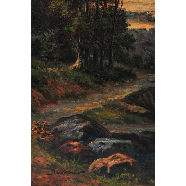 "19th C. Hudson River School ""Waterfall Landscape"" Oil Painting For Sale - Image 4 of 9"