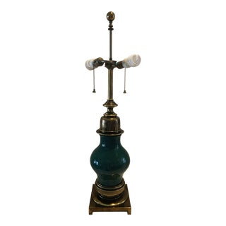 Stiffel Green Brass Table Lamp For Sale