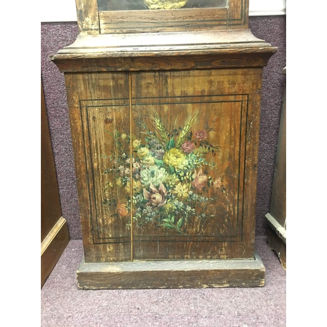 Antique French Hand Painted Brass Repoussé Grandfather Clock For Sale - Image 12 of 13