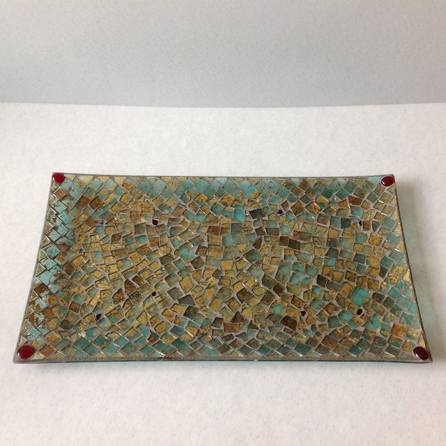 Gold Foil Glass Mosaic Tray - Image 3 of 11
