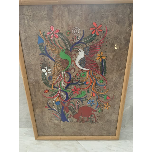Mexican Folk Art Painting on Amate Bark Paper, Framed For Sale In Miami - Image 6 of 10