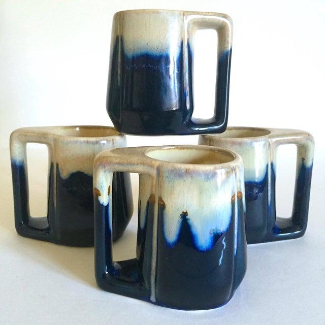 Vintage Mid Century Organic Modern Indigo Blue Drip Glaze Ceramic Handled Mugs - Set of 4 For Sale - Image 13 of 13