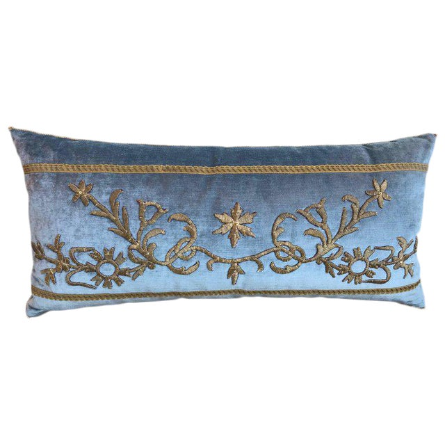 Antique Ottoman Gold Embroidery Pillow For Sale