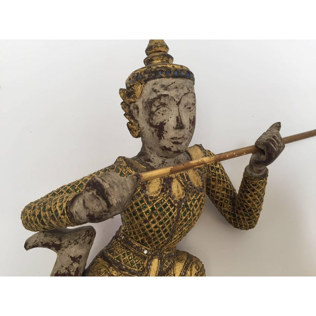 Brass Thai Figures of Siamese Dancers Sculpture Wood With Gold - a Pair For Sale - Image 7 of 11