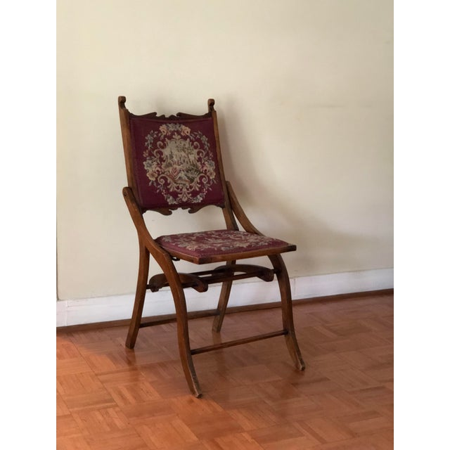 1900s Antique Victorian Tapestry Folding Chair For Sale - Image 12 of 13