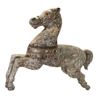 1900s French Painted Jumping Horse Statue For Sale