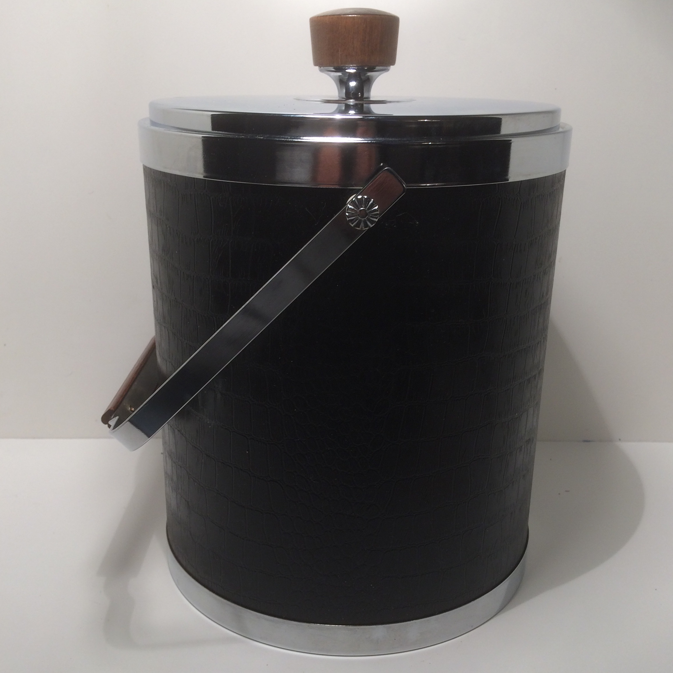 High Quality Kromex Black Leather And Chrome Ice Bucket With Walnut Mid Century Modern    Image 2 Good Looking