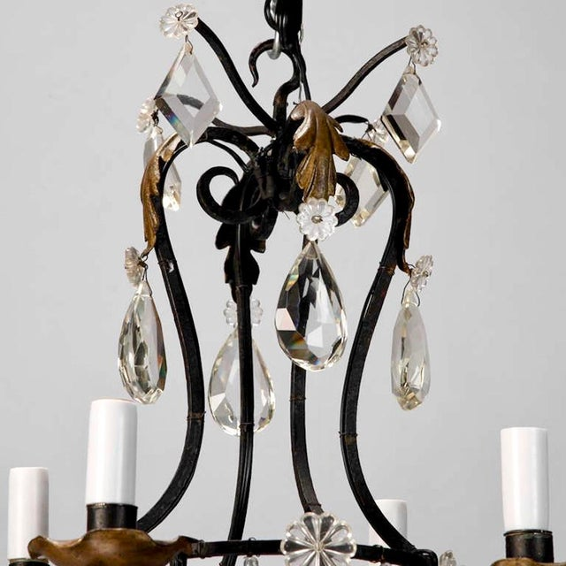1930's French 4-Light Black Iron & Crystal Chandelier - Image 3 of 4