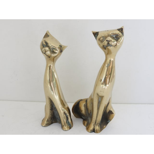 Mid Century Brass Cats - Pair - Image 3 of 5