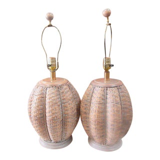 Woven Caged Island Style Lamps - a Pair For Sale