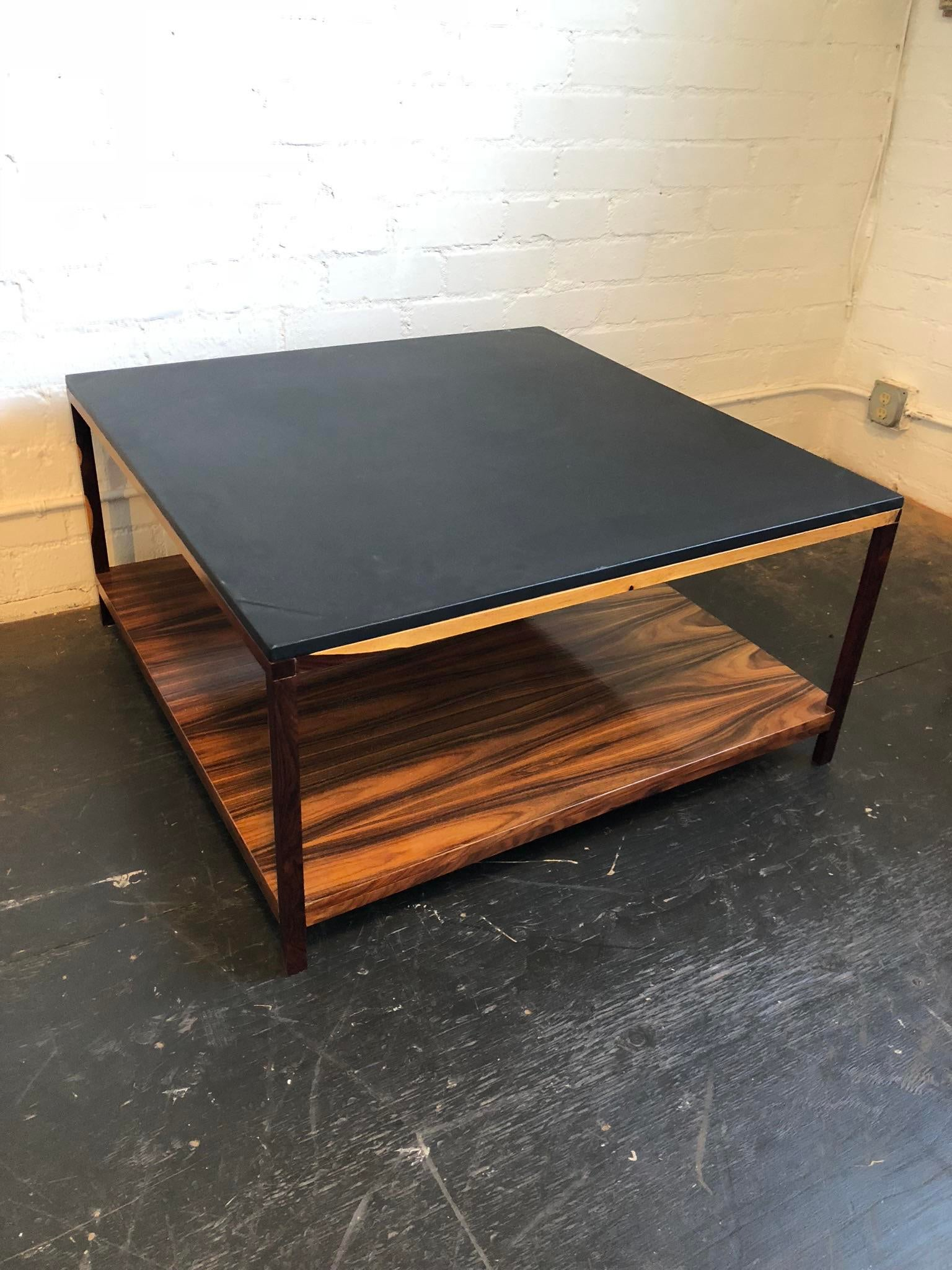 Stunning Two Tiered Mid Century Zebra Wood And Black Faux Leather Top Coffee  Table.