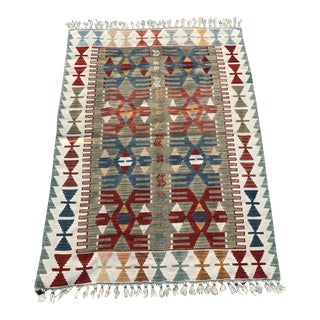 "Vintage Turkish Tribal Kilim Rug-4'x5'5"" Mid Size-Sage Red Blue Muted Colors-Authentic Rug-Flatweave-Geometric Design-Bohemian Rug For Sale"