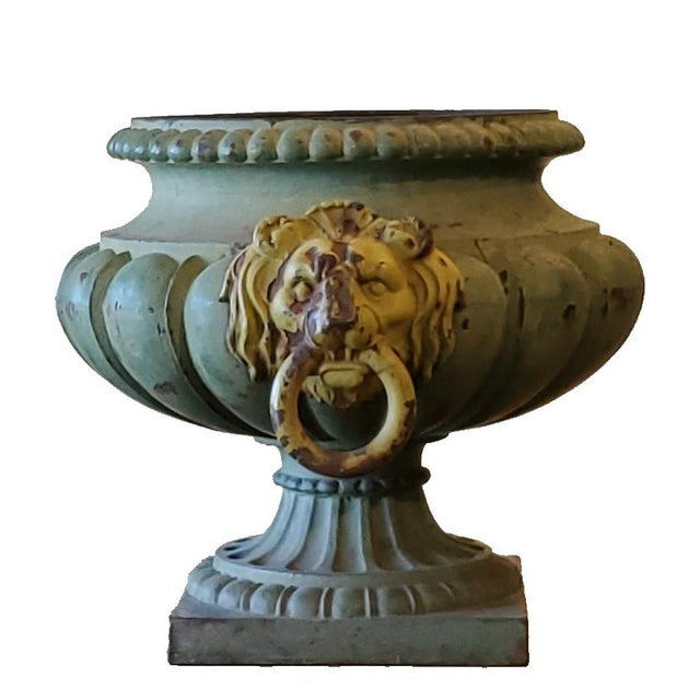 Metal Antique French Garden Urns For Sale - Image 7 of 7
