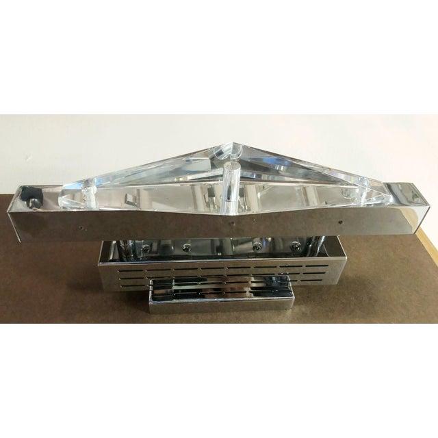 Mid-Century Modern Crystal Chrome Sconces / Flush Mounts by Fabio Ltd - a Pair For Sale - Image 3 of 7