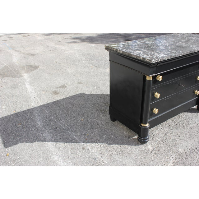 Empire 1900s French Empire Ebonized Marble Top Chest of Drawers For Sale - Image 3 of 13