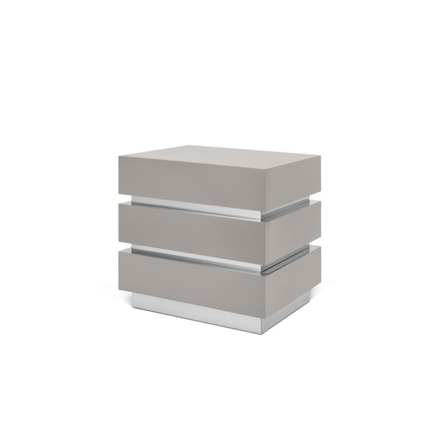 Contemporary Banded Nightstand in Taupe / Nickel - Flair Home for The Lacquer Company For Sale - Image 3 of 5