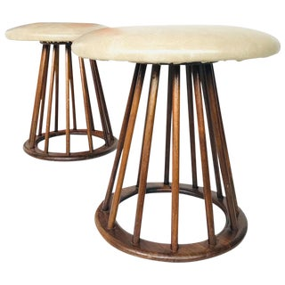 Pair of Arthur Umanoff Midcentury Spindle Stools For Sale