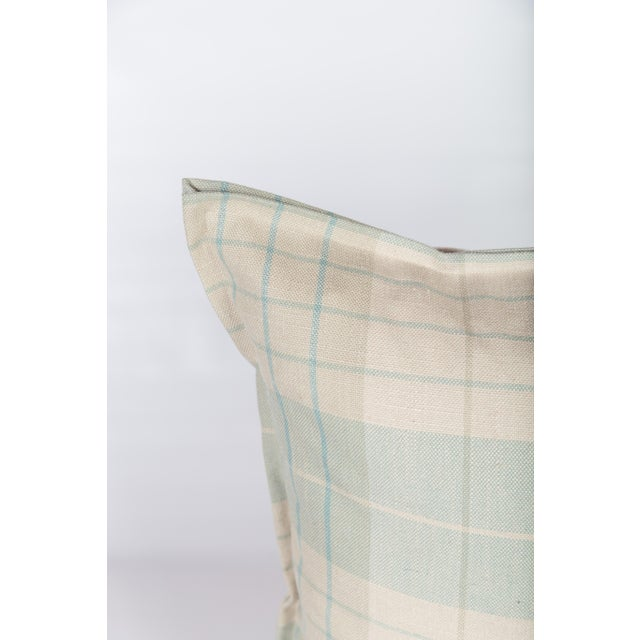 Pair of pillows in plaid linen blend fabric on fronts and backs, with coordinating custom flange. Custom, ultra-plump...
