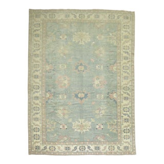 Pastel Pink and Blue Turkish Oushak, 9' X 13'6'' For Sale