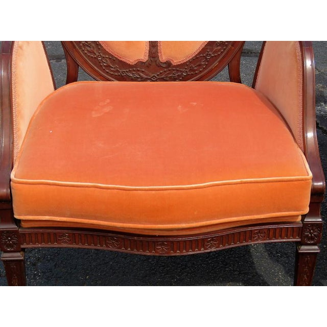 Orange Carved Walnut Upholstered Armchairs - A Pair For Sale - Image 8 of 8