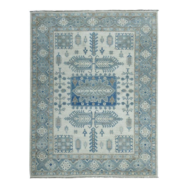 Kazak Geometric Design Wool Hand-Knotted Rug For Sale