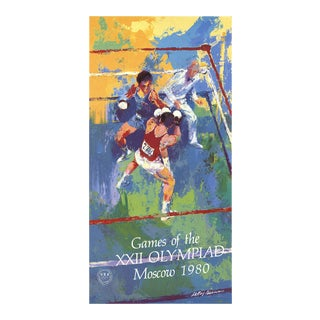 """Leroy Neiman Games of the XXII Olympiad, Moscow 39"""" X 20.25"""" Poster 1980 Expressionism Multicolor For Sale"""