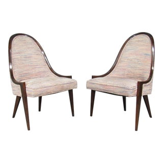 Gondola Slipper Chairs 'Model 1053' in Mahogany by Harvey Probber - a Pair For Sale