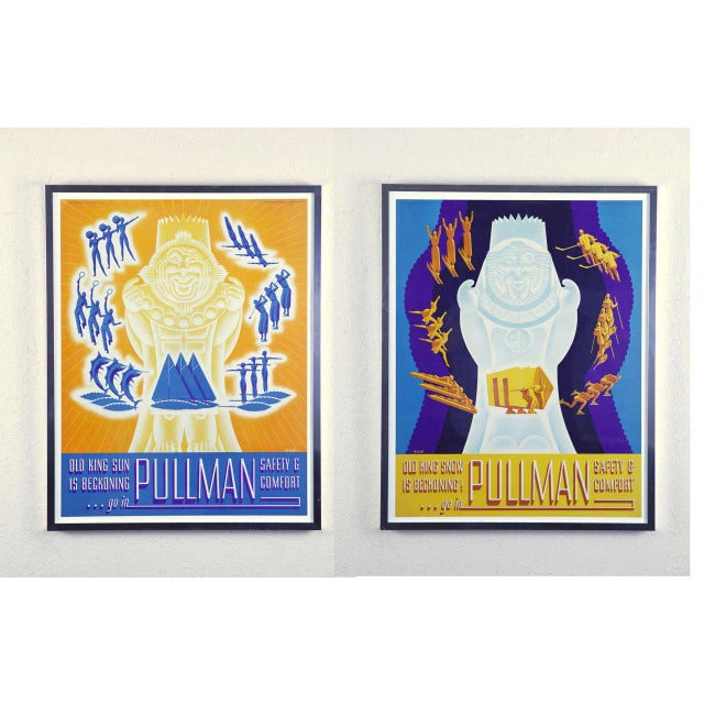 Rarely seen matched pair of 1936 Old King Sun & Old King Snow advertising posters, printed in the USA by Charles Daniel...