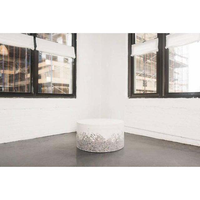Hand Made Grey Agate and White Plaster Drum, Side Table by Samuel Amoia For Sale - Image 4 of 7