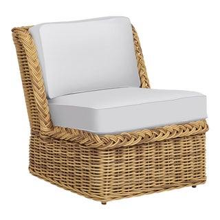 Wicker Works Armless Squareback Lounge Chair in Natural For Sale