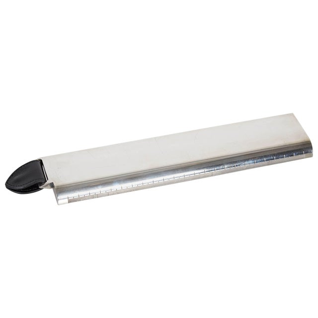 Hermes Silver and Leather Desk Ruler For Sale