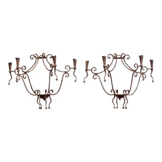 Monumental Gothic Iron Candle Sconces - A Pair For Sale