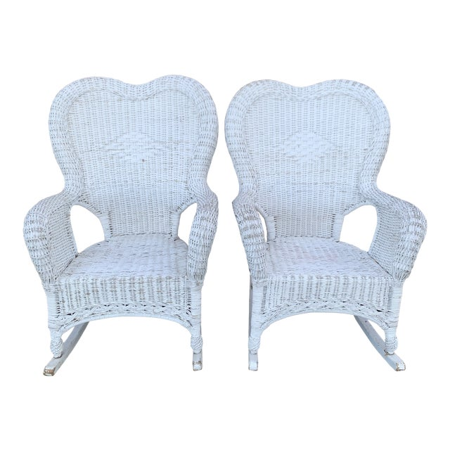 Pair of Antique Wicker Rocking Chairs For Sale