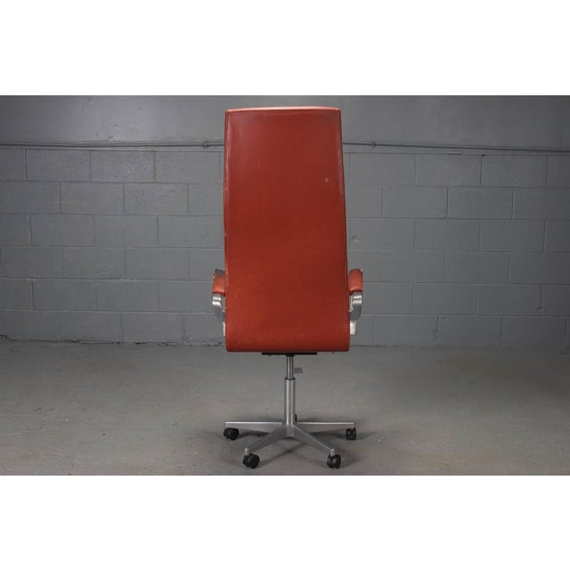 Arne Jacobsen High Back Leather Oxford Desk Chair by Arne Jacobsen For Sale - Image 4 of 10